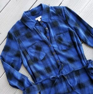 NWT Mossimo Plaid Blue Shirt Dress